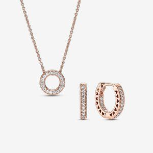 Pavé Circle and Heart Necklace and Earring Set
